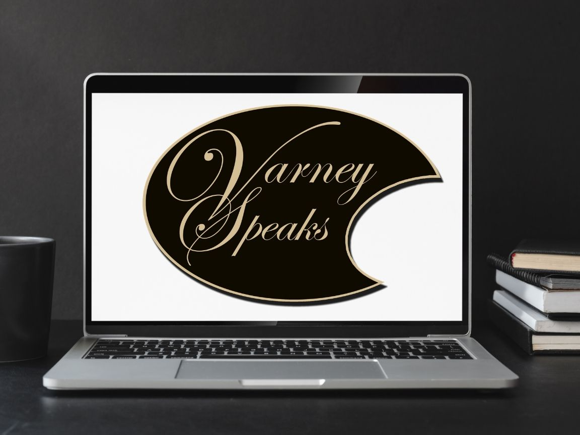 laptop with Varney Speaks logo