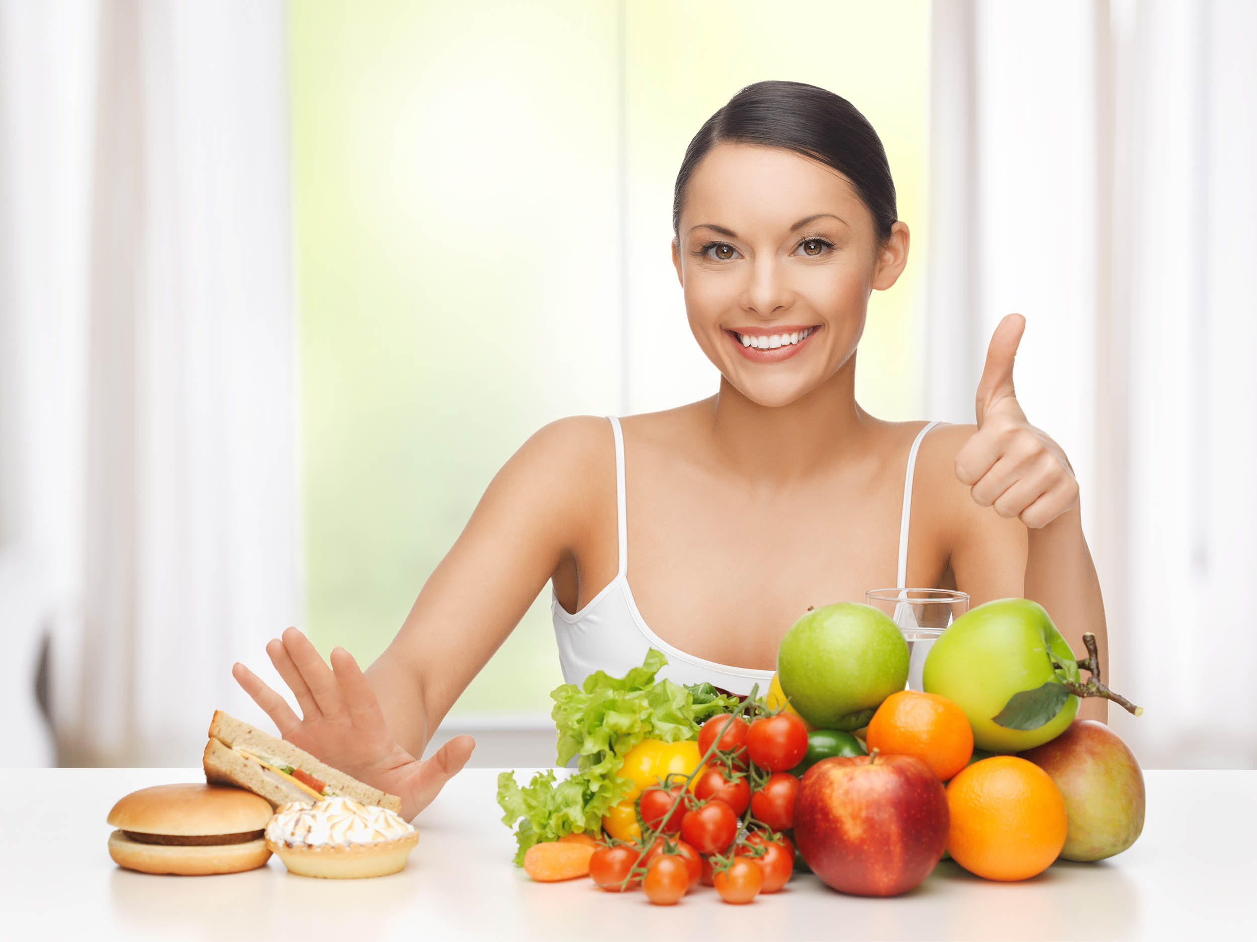 smiling woman with food